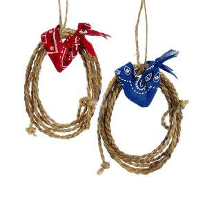 1 Set 2 Assorted 4 Inch Lasso Rope with Red and Blue Bandana Christmas - Lasso Rope