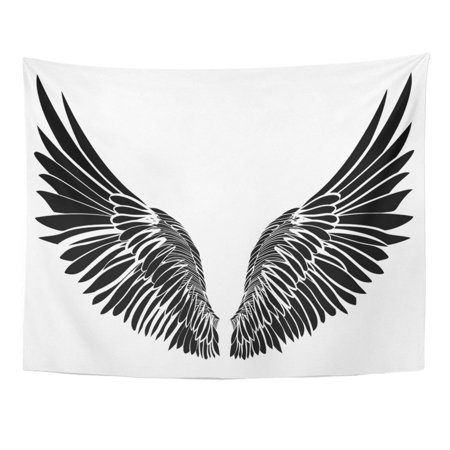 REFRED Angel Wings On White Black And Style Abstract Angel Bird Creative Curve Dove Wall Art Hanging Tapestry Home Decor for Living Room Bedroom Dorm 51x60 inch