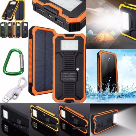 Tagital 300,000mah Solar Charger Power Bank with LED Flashlight Portable Charger Backup Power Pack, Dual USB Port External Battery Charger for iPhone, Samsung,