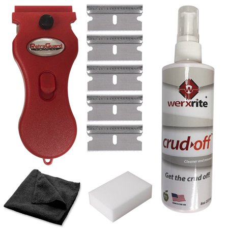 Werxrite RetraGuard Complete Hard Surface Cleaning Kit for Glass Ceramic Windows Cooktops Stovetop Showers + more - Includes Scraper + 5 Blades + 8oz Bottle of Crud-Off Cleaner + Cloth + Sponge