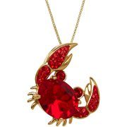 "Luminesse Swarovski Element 18kt Gold over Sterling Silver Crab Pendant, 18"""