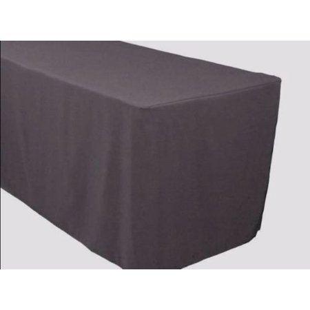 6' ft. Fitted Polyester Table Cover Trade show Banquet Tablecloth CHARCOAL GREY