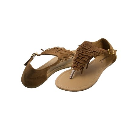 Kork Ease Suede Sandals - Sara Z Womens Microsuede Fringe T Strap Thong Sandal Size 7/8 Cognac