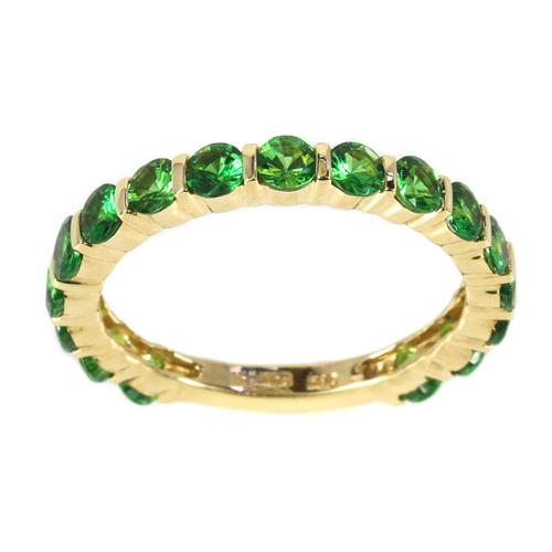 Sonia Bitton 14k Yellow Gold Green Tsavorite Semi-eternity Ring Size 8
