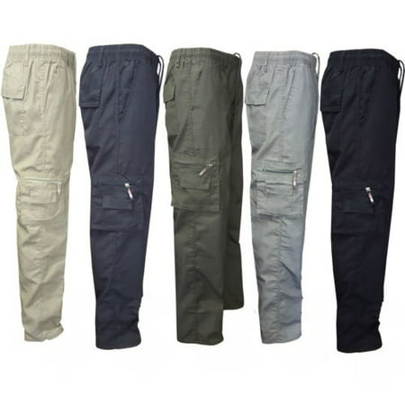 Men Pants Man Stretchy Summer Cargo Combat 7 Pockets Lightweight Work Pants ()