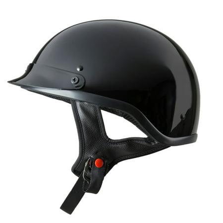 Raider Motorcycle Half Helmet /Gloss Black, Sizes S - XL