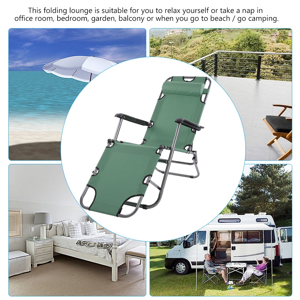 Folding Lounge,Ymiko Portable Folding Camping Lounge Beach Garden Patio Recliner Reclining Chair with Armrest,Outdoor Lounge