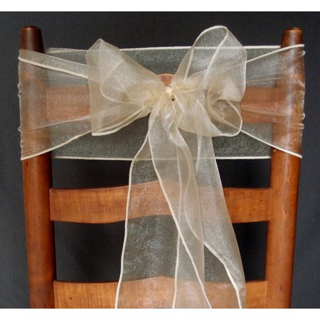 Quasimoon Champagne Organza Chair Sashes (9FT, 10 Pack) by PaperLanternStore