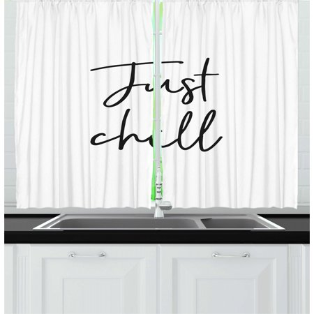 Just Chill Curtains 2 Panels Set, Simple and Hand Drawn Cursive Typography Symbolizing Relaxation Vacation, Window Drapes for Living Room Bedroom, 55