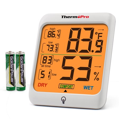 ThermoPro TP53 Indoor Thermometer Humidity Monitor Indicator Digital Room Temperature and Humidity Monitor with Touch Backlight Hygrometer Gauge