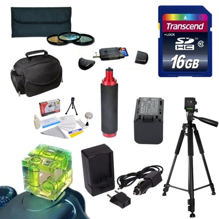 Best Value Kit for Sony NEX-VG30 Camcorder includes 16GB Memory Card, Reader, 3 PC Filter, NP-FV70 Battery, Charger,Tripod, Triple Bubble Level, Handgrip,Case, Deluxe Cleaning Kit,