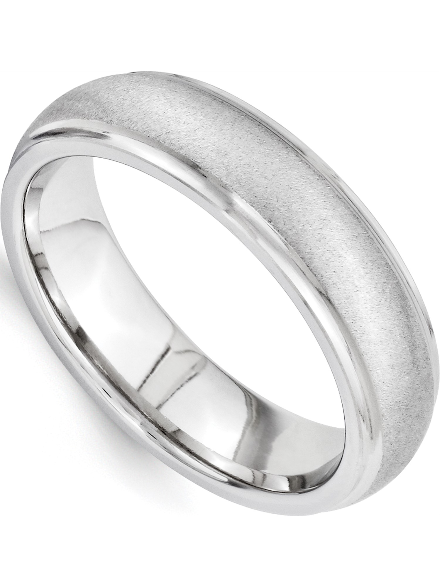 Titanium Polished //Stone Finish Center Grooved Edge Sterling Inlay Band