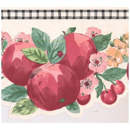 Prepasted Wallpaper Border - Red Apple Strawberry Cherry Scalloped Wall Border Retro Design, Roll 15 ft. x 7 (Apple Wall Border)