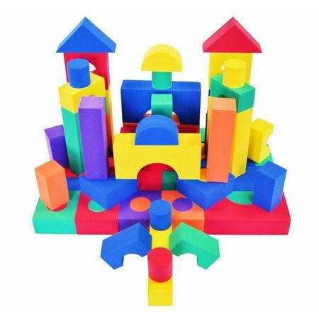 EWONDERWORLD 70 Piece Premium Thick Non-Toxic Colorful Foam Building Blocks