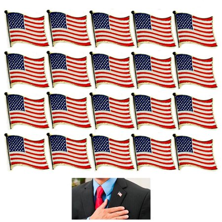 20 AMERICAN FLAG LAPEL PIN MADE IN USA Hat Tie Tack Badge Pinback Vest Patriotic