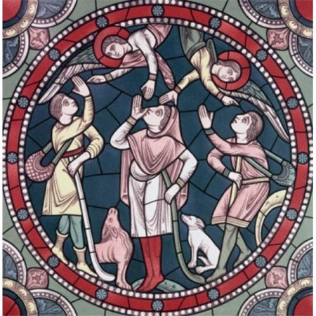 Posterazzi SAL9005657 Angels Appear to the Shepherds 12th Century Stained Glass Chartres Cathedral France Poster Print - 18 x 24 - Century Stained Glass
