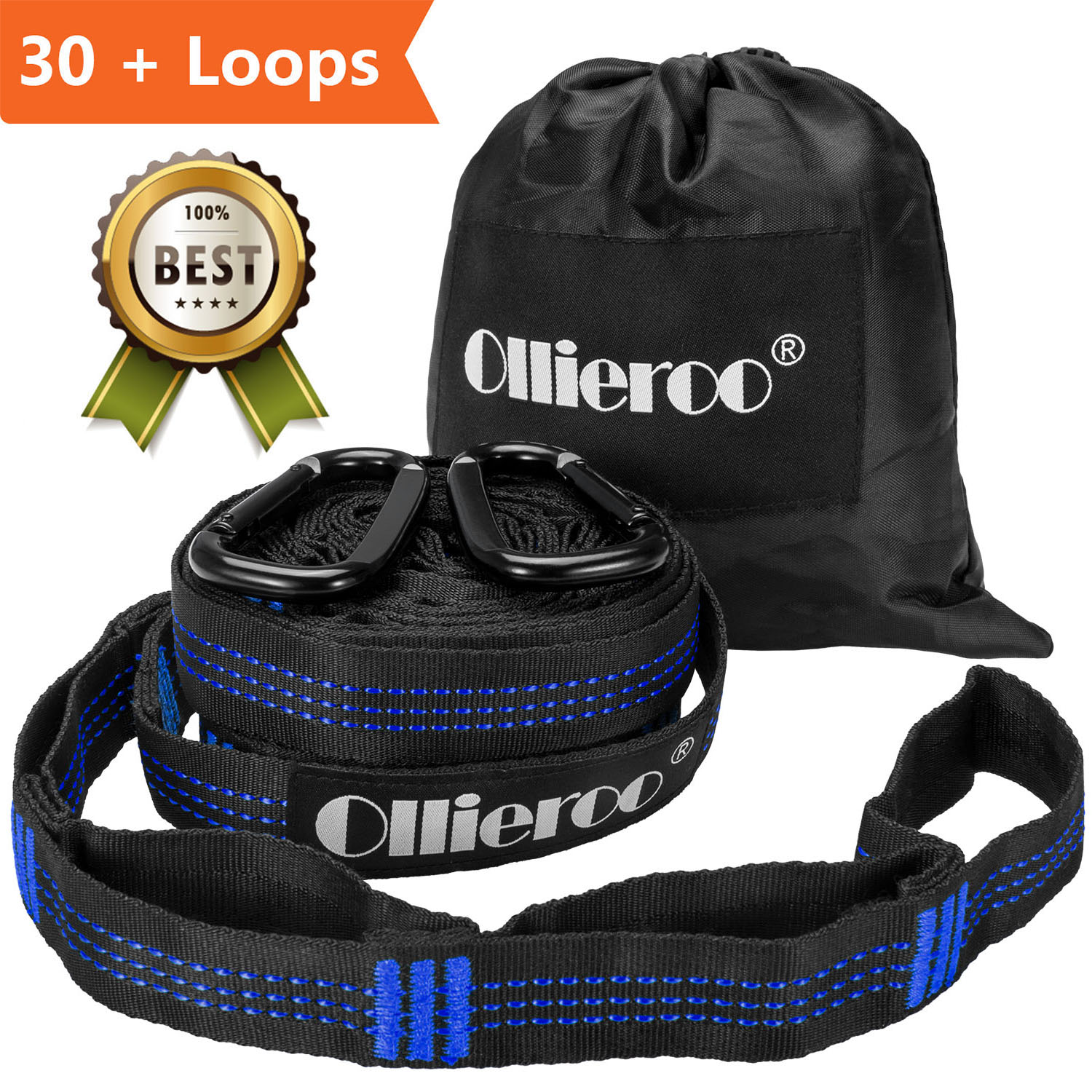 Allieroo Adjustable Hammock Tree Straps Heavy Duty Camping Hammock Security Accessories,2-Pack Blue