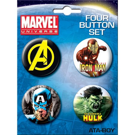 Chain Brooch - Marvel Comics Avengers 4 Piece Button Set
