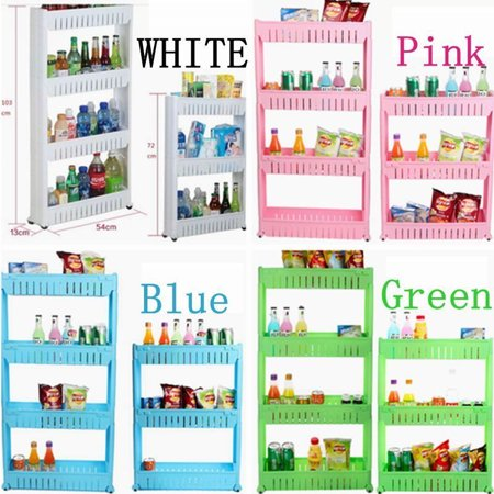 New Portable 4 Tiers Shelfs Moving Rack 4 Colors Kitchen Storage Shelf Wall  Cabinets Bedroom Bathroom DIY Organizer