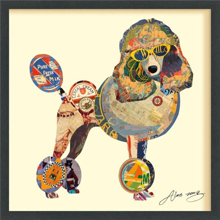 Poodle - Dimensional Art Collage Hand Signed by Alex Zeng Framed Graphic Wall -
