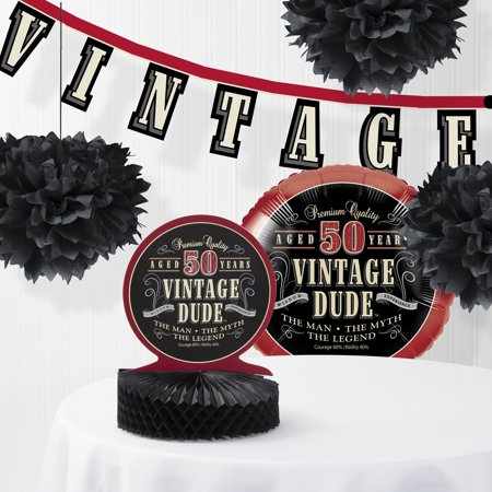 Vintage Dude 50th Birthday Decorations Kit