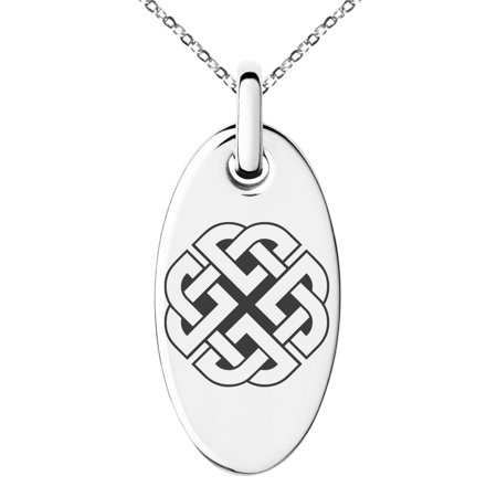 Stainless Steel Celtic Quaternary Knot Rune Engraved Small Oval Charm Pendant (Celtic Rose Charm)