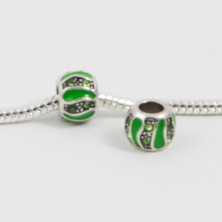 3 Beads - Green Enamel Barrel Rhinestone Silver European Bead Charm E0184