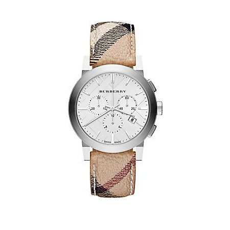 Burberry The City Silver Dial Haymarket Check Fabric Unisex Watch (Unisex Silver Dial)