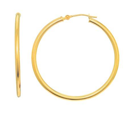 14K Yellow Gold Tubular Hoop Large Round Earrings 2mmx 30mm 14k Gold 30mm Hoop Earrings