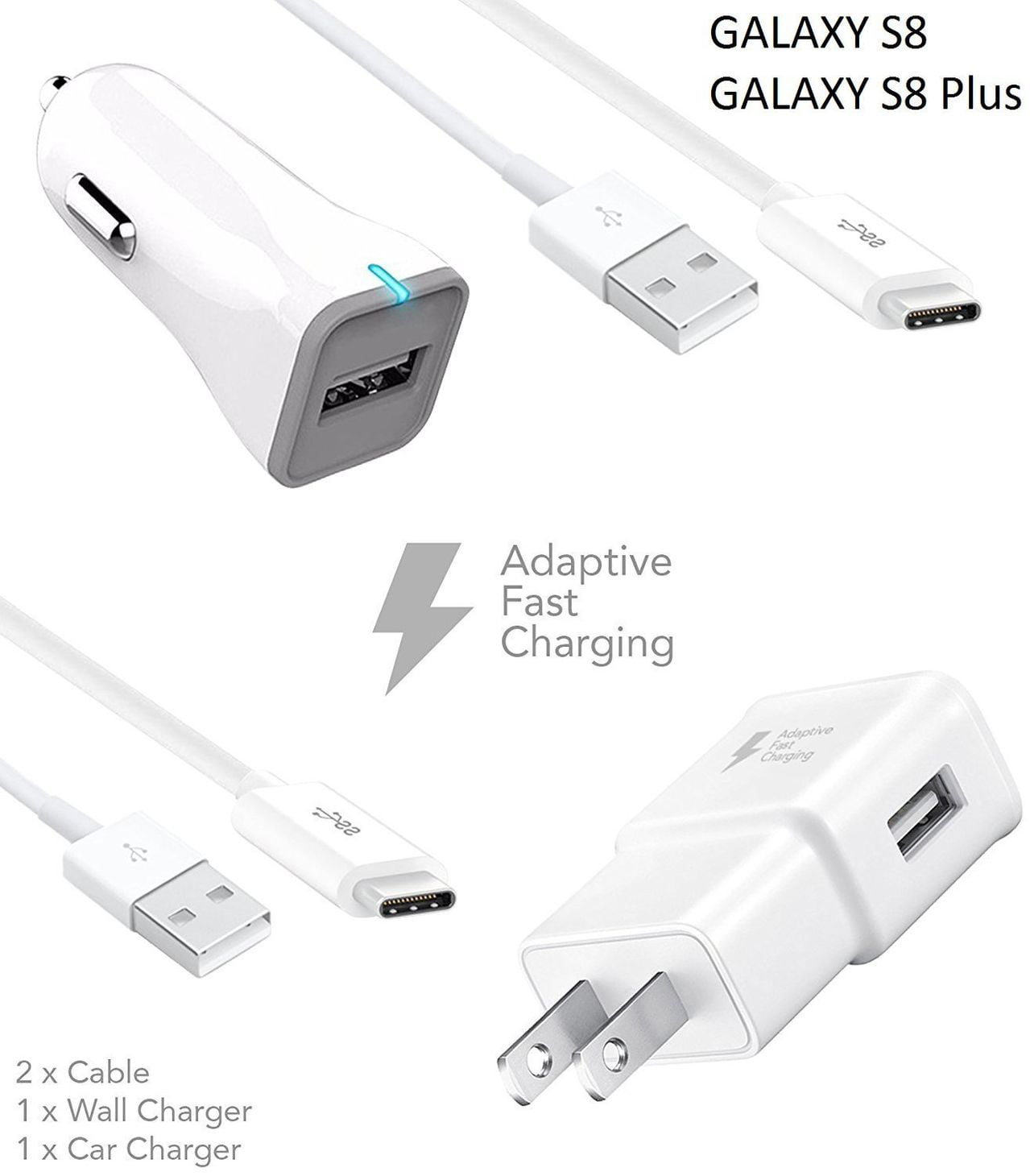 super specials cheapest price replicas Samsung Galaxy S8 / S8 Edge Charger! Adaptive Fast Charger Type-C Cable {2  Wall Chargers + 2 Type-C Cables} True Digital Adaptive Fast Charging uses  ...