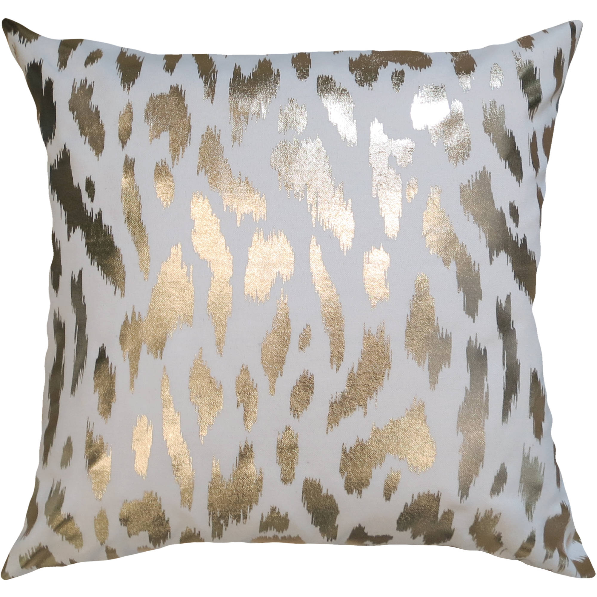 "Better Homes and Gardens Golden Cheetah 18"" x 18"" Poly/Cotton Fabric Gold Foil Print Pillow"