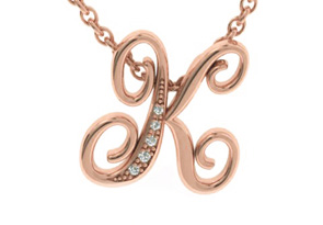 K Initial Necklace In Rose Gold With 5 Diamonds by Adoriana