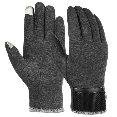 Vbiger Thick Warm Touch Screen Texting Gloves Cold Weather Gloves Cycling Gloves for Men, Gray (Men Gloves)