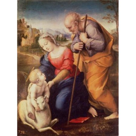 Posterazzi SAL900100067 Holy Family with the Lamb 1507 Raphael 1483-1520 Italian Oil on Wood Panel Museo del Prado Madrid Spain Poster Print - 18 x 24 in.
