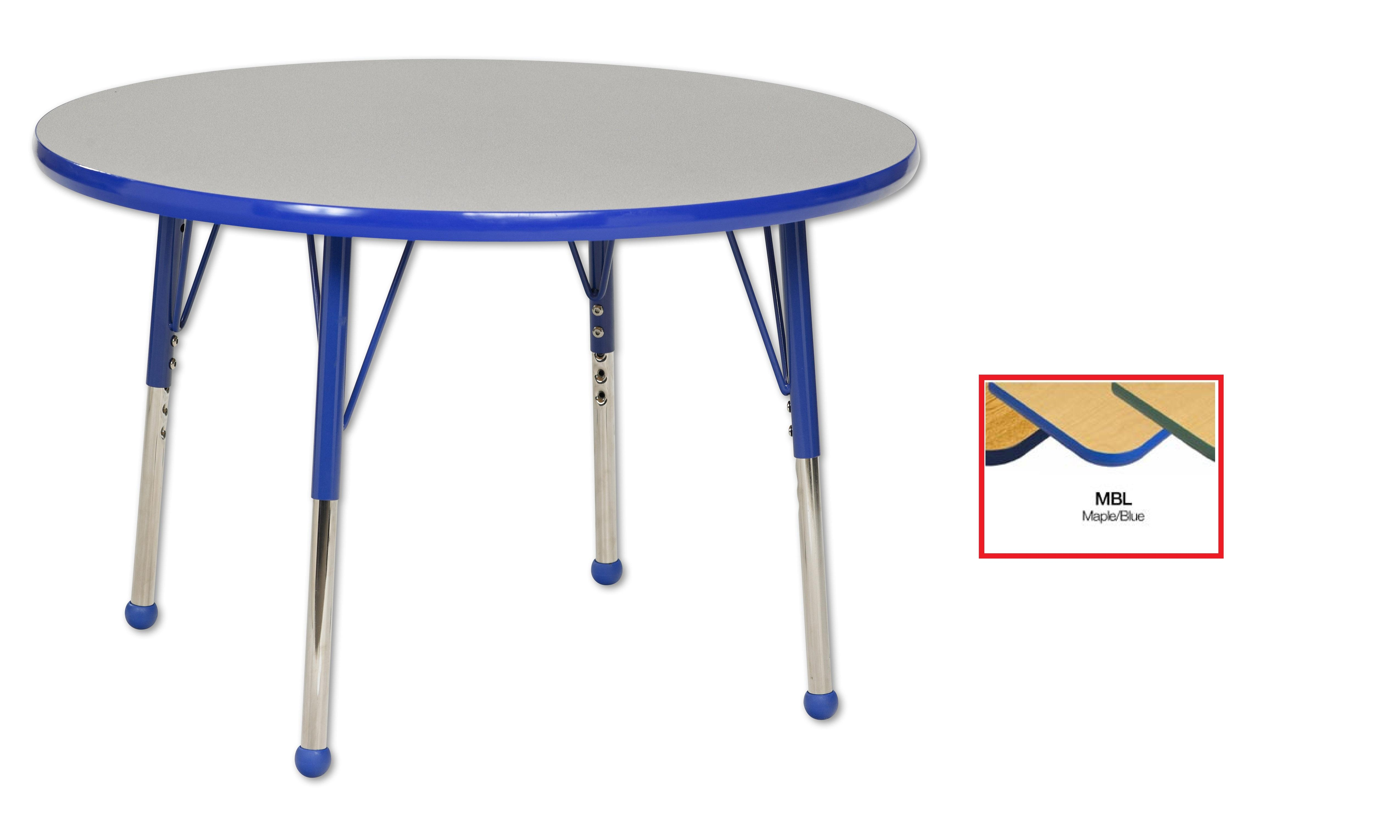"""36"""" Round Table Toddler Ball Leg-Color:Maple Blue by ECR4Kids"""