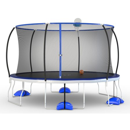 Trujump 14-Foot Trampoline, with Enclosure and Airdunk, Blue