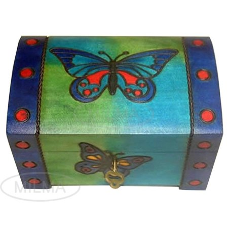 Butterfly Decorative Wooden Chest Box w/ Lock and Key Polish Linden Wood Keepsake Girl's Jewelry Box