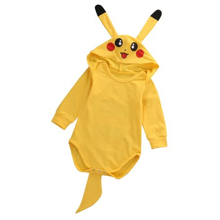 Pikachu In A Dress (Canis Pokemon Go Toddler Infant Baby Boy Girl Pikachu Outfit Jumpsuit Rompers Yellow 3D Ear Hoodie Tail Cosplay Halloween)