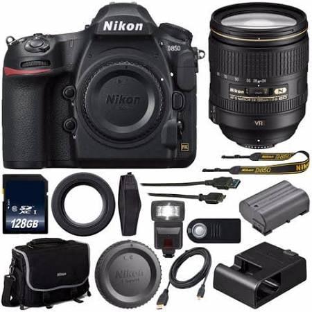 Nikon D850 DSLR Body Only + Nikon AF-S NIKKOR 24-120mm f/4G ED VR Lens+128GB Memory Card+External Flash+HDMI Cable+Wireless Remote Bundle