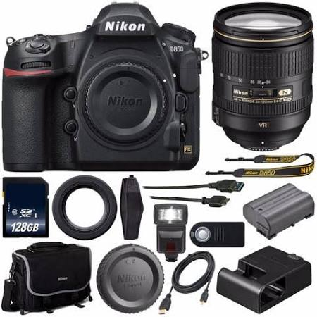 Nikon D850 DSLR Body Only + Nikon AF-S NIKKOR 24-120mm f/4G ED VR Lens+128GB Memory Card+External Flash+HDMI Cable+Wireless Remote Bundle