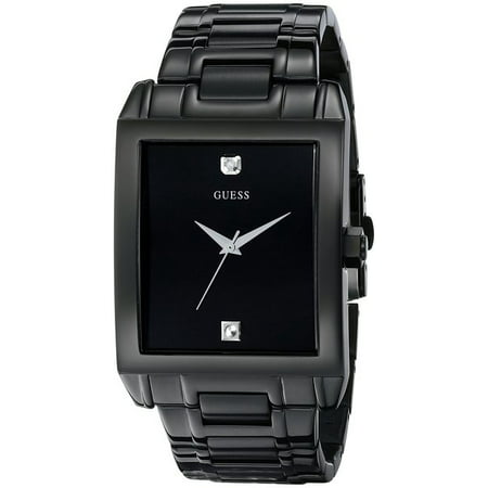 Guess Men's Black Stainless Steel Diamond watch (Guess Black Diamond Accent Watch)