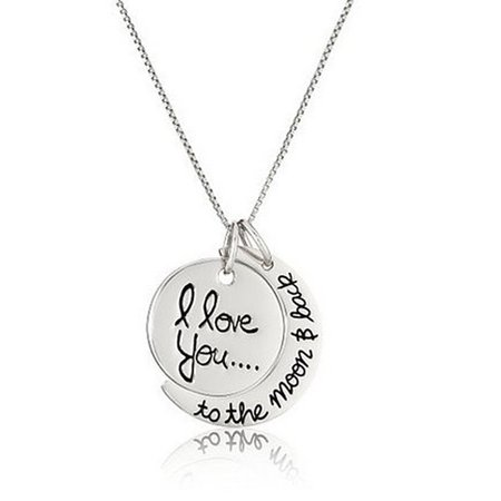 Creative Moon and Sun Shape with I LOVE YOU Letter Pendant Necklace Fashion Elegant Couple Necklace Silver ()