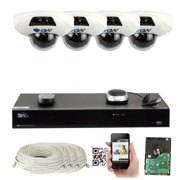 GW Security 8 Channel 4K NVR 5 Megapixel H.265 Built-In Microphone Video Audio Surveillance System (4 Camera System)