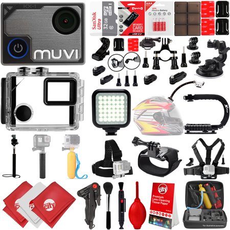 VEHO MUVI K-Series K2 Pro 4K Wi-Fi Sports Action Camera w/ 32GB 28PC Bundle - Window Mount - Helmet Mount - Opteka X-GRIP Action Handle -  High Power LED Video Light and MUCH