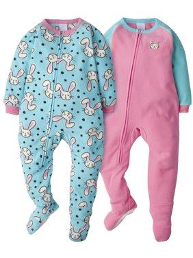 Gerber Toddler Girl Microfleece Blanket Sleepers Pajamas, 2-Pack