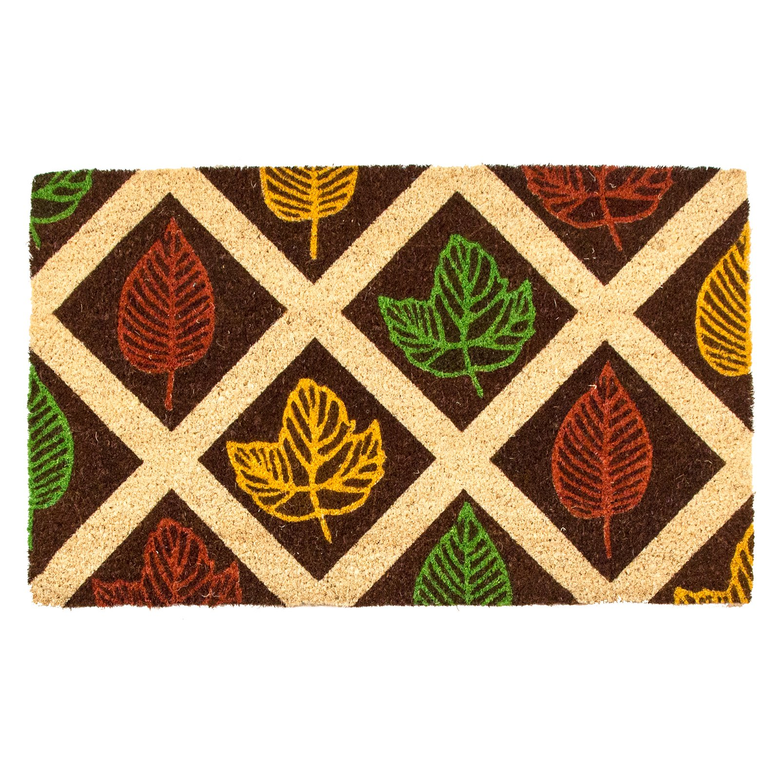 Entryways Leaf Rubbing Non Slip Coir Door Mat