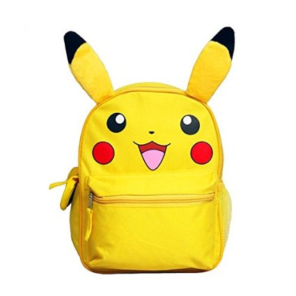 "Small Backpack Pokemon - Pikachu Face 12"" School Bag New 839687"