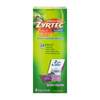 Zyrtec 24 Hr Children's Allergy Relief Syrup, Grape Flavor, 4 fl. Oz.
