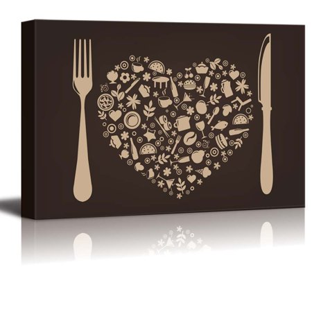 Restaurant Decor - Canvas Prints Wall Art - Restaurant and Food Elements with Fork and Knife | Modern Wall Decor/ Home Decor Stretched Gallery Wraps Giclee Print & Wood Framed. Ready to Hang - 12