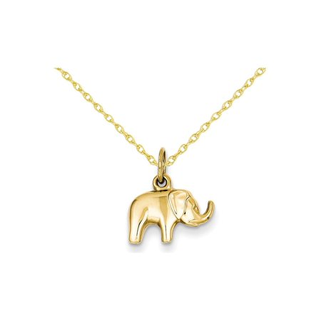 Elephant Charm Pendant Necklace in 14K Yellow Gold